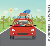 happy family driving in red car ... | Shutterstock .eps vector #675076351