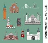 cartoon turkey symbols and... | Shutterstock .eps vector #675078331