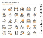 wedding elements   thin line... | Shutterstock .eps vector #675083239
