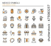mexico symbols   thin line and... | Shutterstock .eps vector #675083257