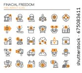 financial freedom   thin line... | Shutterstock .eps vector #675083611