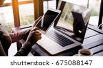 selective focus on hand use... | Shutterstock . vector #675088147