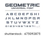 geometric font. technology ... | Shutterstock .eps vector #675092875