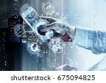 man's hand holding smartphone... | Shutterstock . vector #675094825