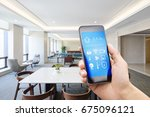 mobile phone with smart home... | Shutterstock . vector #675096121