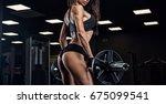 fitness girl exercising with... | Shutterstock . vector #675099541