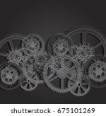 drawing gears on a black... | Shutterstock . vector #675101269