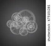 drawing gears on a black... | Shutterstock . vector #675101281