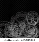 drawing gears on a black... | Shutterstock . vector #675101341
