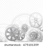 drawing gears on a white... | Shutterstock . vector #675101359