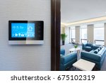 smart screen with smart home... | Shutterstock . vector #675102319
