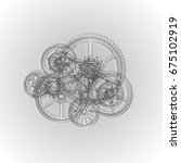 drawing gears on a gray... | Shutterstock . vector #675102919