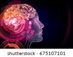 abstract pink digital human... | Shutterstock . vector #675107101