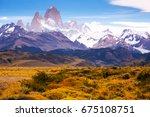 spectacular view on fitz roy... | Shutterstock . vector #675108751