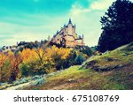 autumn view of castle of... | Shutterstock . vector #675108769