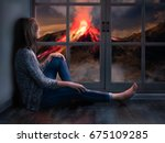 the girl looks out the window... | Shutterstock . vector #675109285