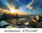 cityscape of singapore at... | Shutterstock . vector #675111487