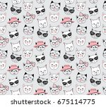 vector fashion cat seamless... | Shutterstock .eps vector #675114775