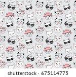 vector fashion cat seamless... | Shutterstock .eps vector #675114775