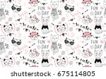 vector fashion cat seamless... | Shutterstock .eps vector #675114805