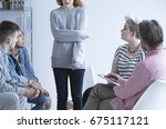 ashamed girl sharing her issues ... | Shutterstock . vector #675117121