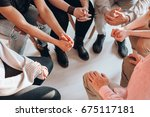 troubled teenagers meeting with ... | Shutterstock . vector #675117181