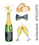 waetrcolor wedding set with... | Shutterstock . vector #675121975