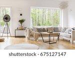 white cozy furniture in... | Shutterstock . vector #675127147