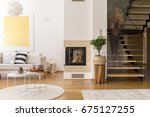 white and wooden design of... | Shutterstock . vector #675127255