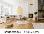 stylish white living room with... | Shutterstock . vector #675127291