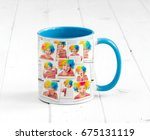 lovely cup blue on the inside... | Shutterstock . vector #675131119
