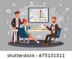 brainstorming creative team... | Shutterstock .eps vector #675131311