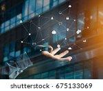 view of a business network... | Shutterstock . vector #675133069