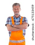 friendly craftsman on white... | Shutterstock . vector #675133459