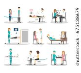 hospital examination set. | Shutterstock . vector #675138679