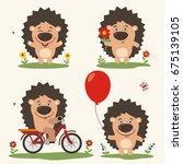 vector set funny hedgehog play... | Shutterstock .eps vector #675139105