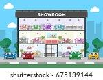 showroom dealership store. | Shutterstock . vector #675139144