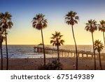 manhattan beach pier at sunset  ... | Shutterstock . vector #675149389