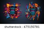 futuristic frame art design... | Shutterstock .eps vector #675150781
