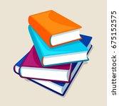 stack of four books.... | Shutterstock .eps vector #675152575