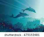 silhouette of two dolphins and... | Shutterstock .eps vector #675153481