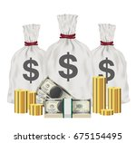 group of money bag banknotes... | Shutterstock .eps vector #675154495