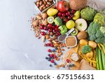 healthy balanced dieting... | Shutterstock . vector #675156631