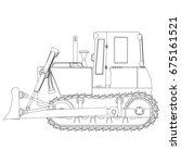 outline bulldozer construction... | Shutterstock .eps vector #675161521
