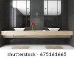 black bathroom interior with a... | Shutterstock . vector #675161665