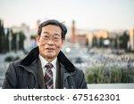 japanese senior old man... | Shutterstock . vector #675162301