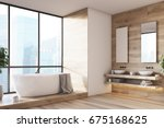 Wooden Bathroom Interior With ...