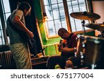 behind the scene. rock band... | Shutterstock . vector #675177004
