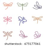 Stock vector dragonfly colored icons 675177061