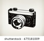 raster copy. retro hand drawn... | Shutterstock . vector #675181009